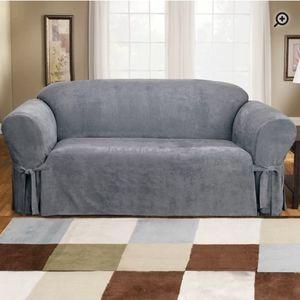 Surefit Soft Suede Furniture Box Cushion loveseat